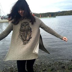 Owl & Anchor on Olive Green Forget Tunic by pinastyles on Etsy