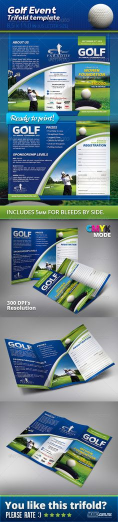 Golf Trifold Brochure   Brochures Golf And Illustrators
