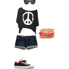 """Teen Style"" by ajlove143 on Polyvore  Again, with longer shorts  :)"