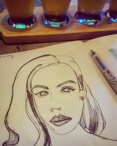 "#drinkanddraw #masticateandillustrate is at Beerhead...bbq pizza a #beer flight and a #doodle #sketch of #sktchyapp user ""jade mcvoy""...#art"