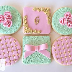 pretty pink fondant sugar cookies with gold accents