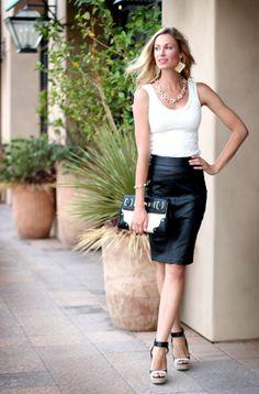 Tank: c/o Karen Kane; Skirt: c/o Beauxx; Shoes: Ann Taylor (on major sale!); Clutch: Aldo; Earrings, Necklace (not available), Bracelet, Ring: c/o Poshlocket