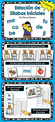 $3.50 These Spanish initial syllable learning station activities will give your students a variety of ways to practice identifying initial syllables with all five vowels.    Includes 4 Activities:   20 Picture and Syllable Matching Cards (4 syllables for each vowel)  10 Initial Syllable Picture Match-ups (2 pictures per syllable)  20 Syllable Clip Strips with answer recording sheet  20 Syllable Clip Cards with answer recording sheet