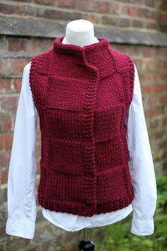 Knitting PATTERN - Bordeux jacket, womens teens sleeveless cardigan, super bulky knitting - - lavori a maglia - Simply Knitting, How To Start Knitting, Dishcloth Knitting Patterns, Sweater Knitting Patterns, Tricot D'art, Knit Vest Pattern, Knit Edge, Sleeveless Cardigan, Super Bulky Yarn