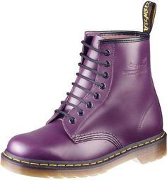 """The last pinner said: """"Puple Docs"""" - If I happen to see these shoes in a store, I think I'd like a pair. Laced ankle boots are very much my style, and these are that plus purple. <3"""