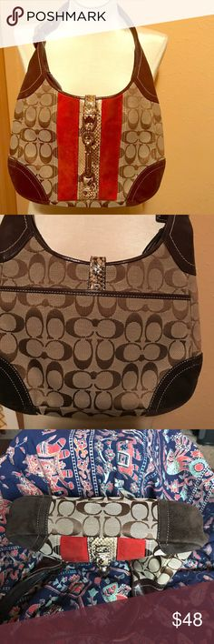 """Coach Vintage Hobo Bag Python Stripe w/Suede Front Signature tan and brown C's embossed on front and back. Corners are brown suede. Snakeskin stripe runs down center of front with attached buckle. Rust/orange suede runs on either side of the python. Zipper closure, but also buckles. Slip in pocket on outside back. Inside zip pocket, 2 small slip ins and a ring to attach keys to. 11""""x7.5""""x2"""". 11"""" adjustable strap. The front suede has some wear which I have not tried to clean. Check out the…"""