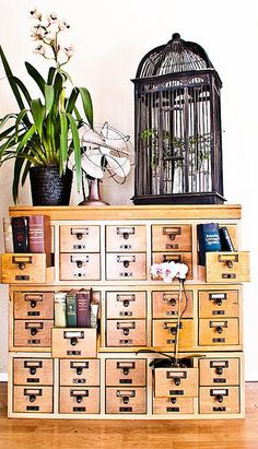 Cool repurposed old library card catalog.