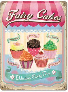 Buntes Cupcake Blechschild: Perfektes Geschenk für die Hobby-Bäckerin!