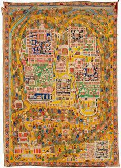 Map of Jain sacred site Shatrunjaya pilgrimage painting [tirtha pata] Gujarat or Rajasthan, India Source: National Gallery of Australia Old World Maps, Old Maps, Illumination Art, Map Painting, Tibetan Art, China Art, Indian Paintings, Art Design, Plans