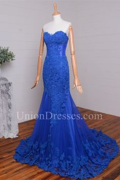 Elegant Mermaid Sweetheart Beaded Royal Blue Lace Prom Evening Dress Winter Prom Dresses, Royal Blue Prom Dresses, Blue Dresses, Evening Dresses, Formal Dresses, Mermaid Sweetheart, Prom Dresses Online, Blue Lace, Buy Dress