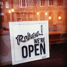"""New take on the """"We're Open"""" sign... www.giftshopmag.com"""