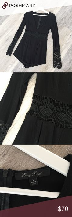 Black Lace Crochet Romper Super cute black romper with crochet details. Excellent condition, only worn once. Size small. Bought from a boutique in Dallas called L.Bartlett. When worn the crochet at the waist line is not lined, so it shows some skin. No trades. Poshmark transactions only.  Dresses