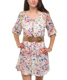 Look what I found on #zulily! Taupe & Coral Floral A-Line Dress #zulilyfinds