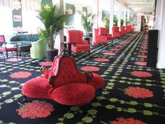 Grand Hotel lobby, Mackinac Island, Michigan. Everything was Red Geraniums, I want to go back!