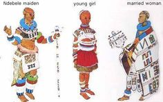 After passing through an initiation school the unmarried Ndebele girl dons the ceremonial clothing of the newly -admitted adult image to the left).