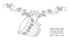 """teacup  from """"French Knots"""" blog; a lovely collection of embroidery transfers available."""