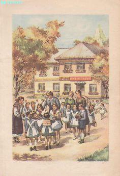 Abecedar 1959 – Un zâmbet de copil… Vintage School, Kindergarten Activities, Kids Education, Book Illustration, Vintage World Maps, Homeschool, Nostalgia, Books, Painting