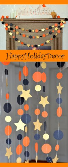 Halloween garland, Black and Orange circle garland, Holidays garland, Halloween firaplace decorations by HappyHolidayDecor on Etsy https://www.etsy.com/listing/245013882/halloween-garland-black-and-orange