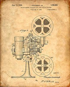This is a print of the patent drawing for a motion picture projector patent in 1936. The original patent has been cleaned up and enhanced to create an attractive display piece for your home or office…MoreMore  #PatentArtPrints