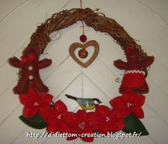 "Christmas wreath made in local Virginia creeper (diameter 30 cm  / around 12""): poinsetia, tit, gingerbread, bell, heart ... everything is there! and this is DIY..."