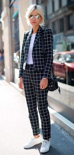 what+to+wear+with+a+pair+of+sneakers+:+bag+++plaid+suit+++white+top