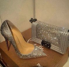 Silver glitter Louboutin heels and matching Chanel bag