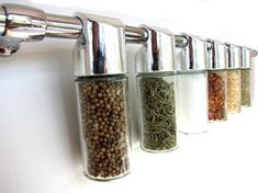 Smart, sleek wall-mounted spice rack from Purpose Design on Etsy.