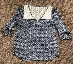 Nordstrom Socialite Juniors' 3/4 Sleeve Boho Blouse Top Shirt (Sz M)    eBay