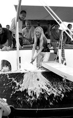 BB christening the boat 'Le Babette,' France, 1959
