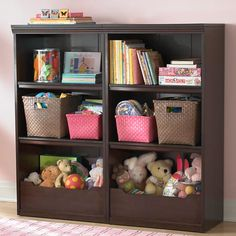 The Land of Nod | Kids' Bookcases: Kids Espresso Flat Top With Adjustable Shelves Bookcase in Bookcases