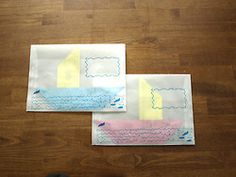 Glassine envelopes and boat origami for a new address announcement. Especially perfect if one were moving overseas! Could also do paper airplanes for a move across the country.