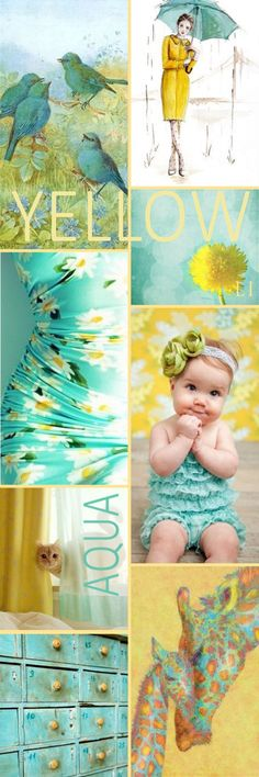 Lu's Inspiration ღ aqua and yellow Желтый Colour Pallette, Colour Schemes, Color Trends, Color Patterns, Color Combos, World Of Color, Color Of Life, Color Blending, Color Mixing