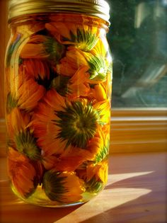 best way to make an infusion. I prefer leaving out in the sun and shaking a few times a day for a week!! yes, a week. that's some strong brew! this is calendula
