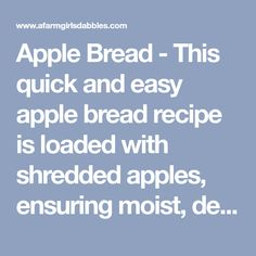 Apple Bread - This quick and easy apple bread recipe is loaded with shredded apples, ensuring moist, delicious fresh apple flavor and texture in every bite! Janets Banana Bread Recipe, Banana Bread Recipes, Apple Recipes, Marble Cake Recipes, Dessert Recipes, Lemon Zucchini Bread, Apple Varieties, Roasted Pecans, Apple Bread