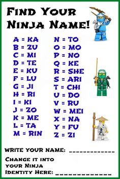 Ninja Name Activity for the kiddos