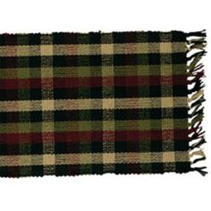 New Primitive Country Woven SALTBOX PLAID TABLE RUNNER Black Green Wine  #Country