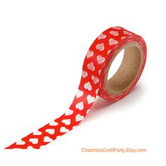 Craft & Baking Supplies.............. Red with White Hearts Japanese Washi Tape  by CharmiosCraftParty