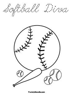 Image Result For Tracing Softball Pictures Baseball Coloring Pages Bat Coloring Pages Coloring Pages