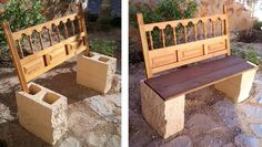 Garden Bench From Repurposed Headboard & Blocks is part of Cement garden Bench - This is a simple idea with a headboard, four blocks and a table you'll have a bench Two blocks on …