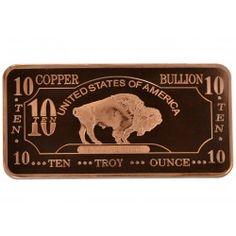 10 Ounce Copper Bar - Buffalo Series