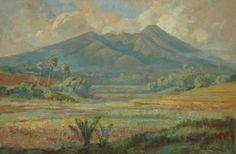 Ernest Dezentjé (Jatinegara (Nederlands-Indië) 1884-1972 Jakarta (Indonesië)) Sawa's aan de voet van een vulkaan.