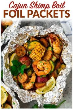 Cajun Shrimp Boil Foil Packets Easy Cajun Shrimp Boil Foil Packets with sausage. Can be made in the oven or on the grill! Perfect recipe for fast, healthy dinners. Cajun Seafood Boil, Shrimp Boil Foil, Cajun Shrimp Recipes, Seafood Boil Recipes, Grilled Seafood, Seafood Dinner, Seafood Broil, Shrimp Boil In Oven, Seafood On The Grill