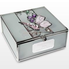 This stunning Engraved Pink Butterfly Trinket is a perfect gift for her on any occasion.    You can add your own personal message to the plaque, on the front of the box, up to a maximum of 60 characters.    Plenty of space to let her know how much she means to you.    The Engraved Pink Butterfly Trinket box will display your message over 3 lines, of 20 character per line. £19.95