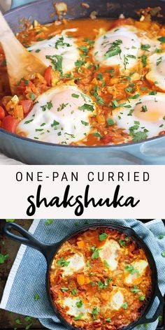 This curried shakshuka, a healthy one-pan dish with poached eggs in a flavorful tomato sauce, comes together quickly and can be served any time of the day! #onepandinner #onepanmeal #shakshuka #healthydinner #eatingbirdfood