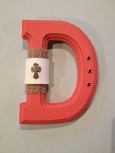 Rustic Brick Painted Wooden Western Letter D