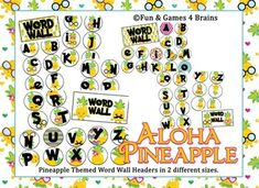 Pineapple themed Word Wall headers and alphabet labels Word Wall Headers, R Words, Cute Pineapple, 1st Grade Worksheets, Game 4, Fun Games, Teacher Pay Teachers, Alphabet, Letters