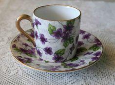 Inarco Japan Purple Floral Demitasse Tea Cup Saucer