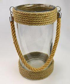 Look at this #zulilyfind! Rope & Glass Narrow Candleholder #zulilyfinds