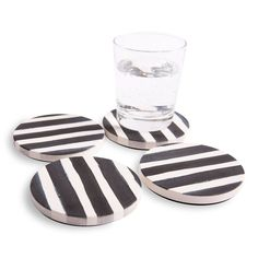 Classic Black & White Stripes Make a Bold Statement on these Absorbent Ceramic Coasters