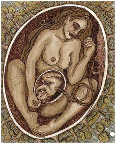 Eternal Womb, Primal Unity - The Art of Lucy Pierce Original Artwork, Original Paintings, Birth Art, Pregnancy Art, Mother Art, Divine Mother, Ink Wash, Hippie Art, Fine Art Paper